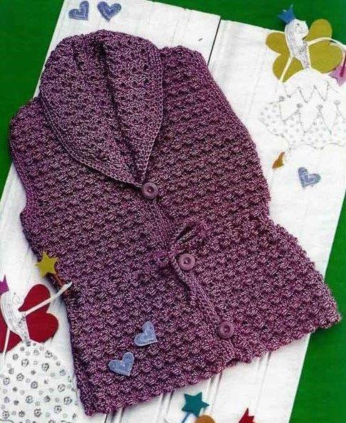 Ажурная жилетка для девочки с шалевым воротником