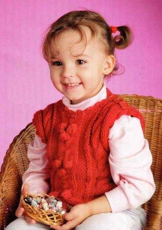 Жилетка с рельефным узором для девочки 1 год
