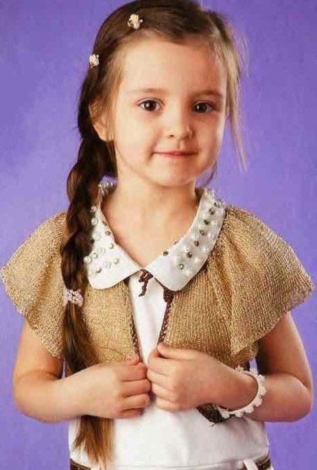 Золотистое болеро для девочки 5 лет