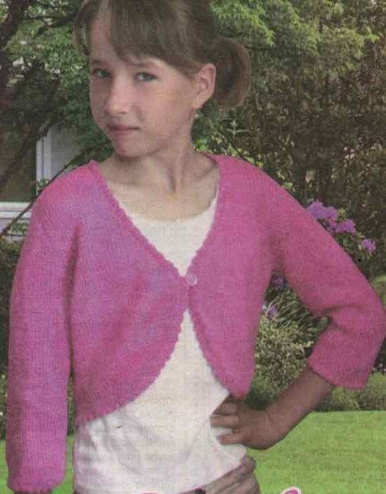 Розовое болеро для девочки спицами
