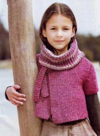 Болеро спицами с шарфом
