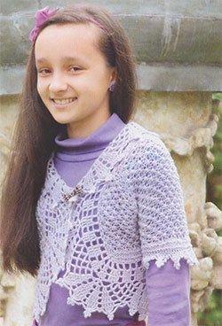 Болеро для девочки с ажурной каймой