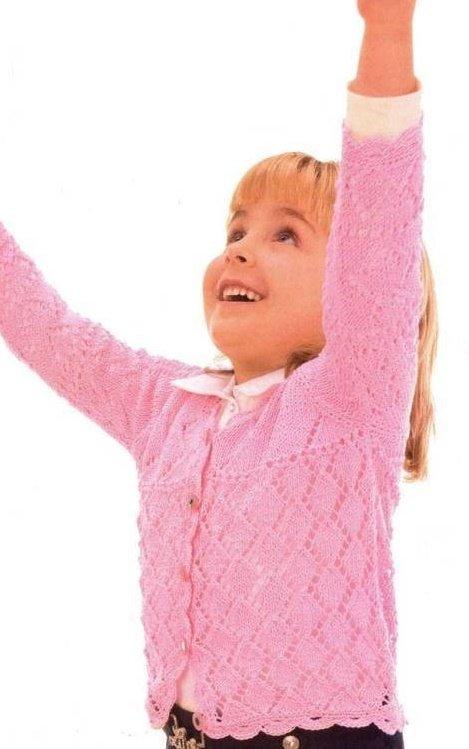 Нарядная кофточка для девочки спицами