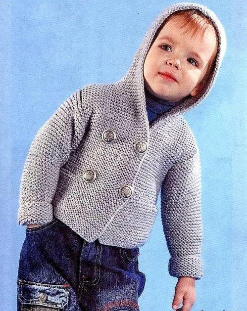 Кофточка для мальчика с капюшоном спицами