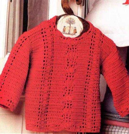 Кофточка для девочки с ажурными полосами