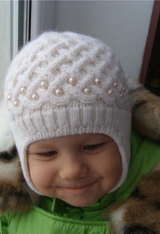 Зимняя шапочка для мальчика спицами