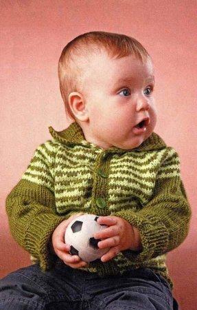 Кофточка с полосками для мальчика 1 год спицами