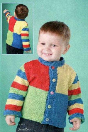 Кофточка для мальчика из разноцветной пряжи
