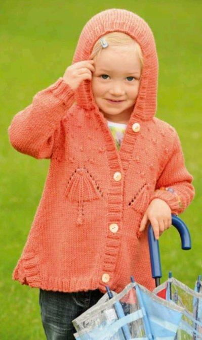 Оранжевая кофта для девочки с капюшоном