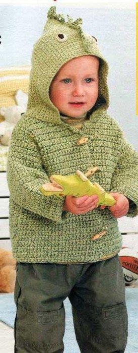 Кофточка-динозаврик для мальчика крючком