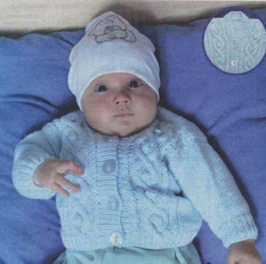 Кофточка для новорожденного мальчика спицами