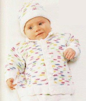 Кофточка для новорожденной девочки из меланжевой пряжи спицами