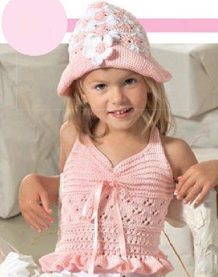 Шляпа с цветочком для девочки крючком