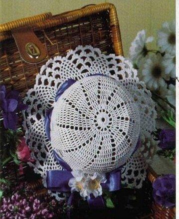 Ажурная шляпка с полями для девочки крючком