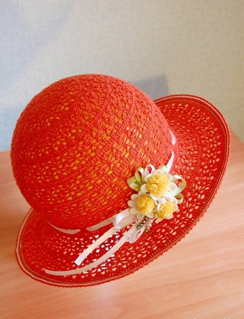 Летняя ажурная шляпка крючком