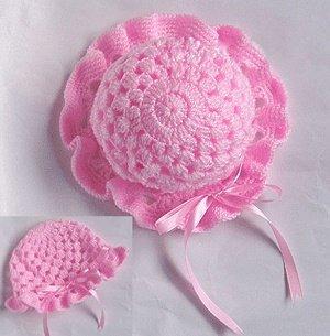 Розовая шляпа с ленточкой для девочки 1 год
