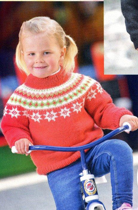 Пуловер для девочки спицами с жаккардовым узором