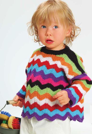 Пуловер с разноцветными полосками для девочки спицами