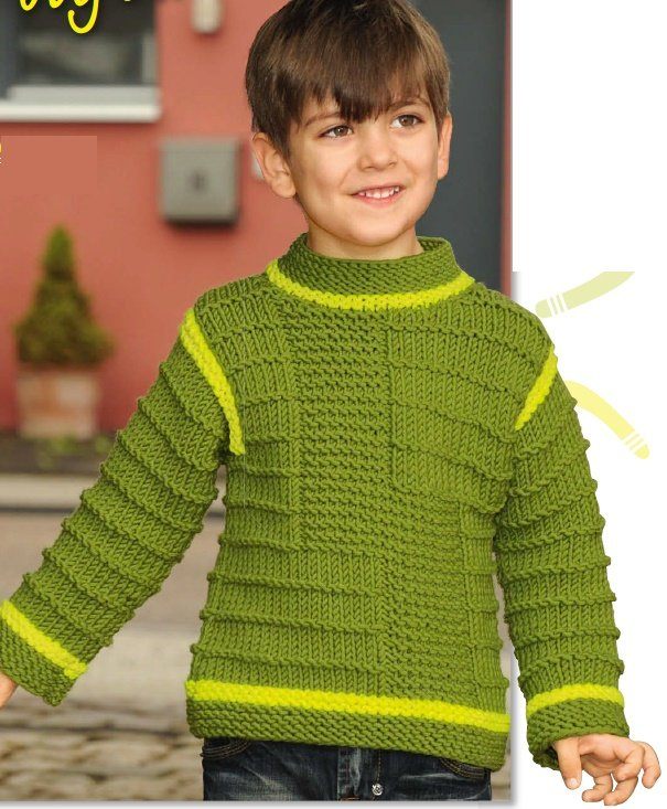 Зелёный пуловер для мальчика спицами