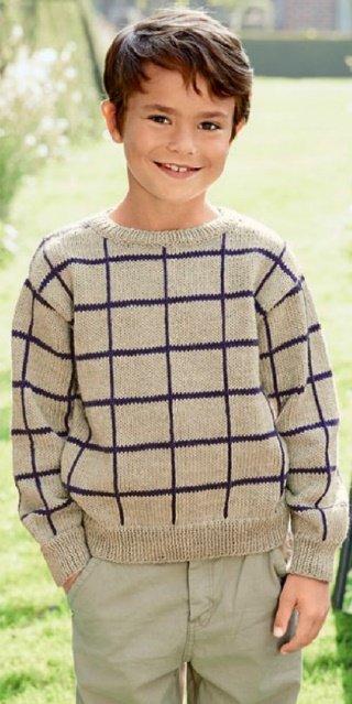 Пуловер в клетку для мальчика спицами