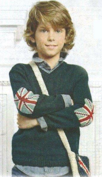 Пуловер с налокотниками для мальчика спицами