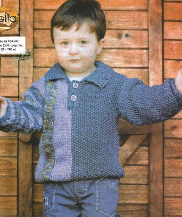 Пуловер с ассиметричным узором для мальчика спицами