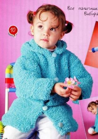 Пальто для девочки спицами с капюшоном