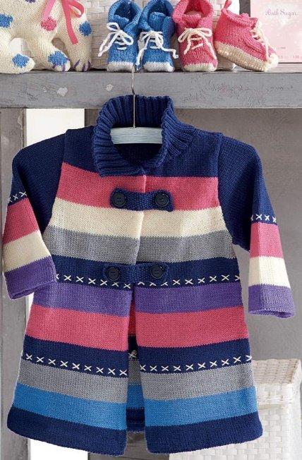 Пальто для девочки 2 года с яркими полосками