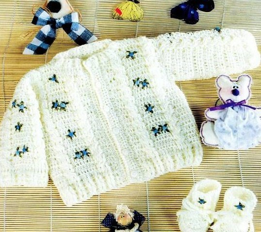 Жакет с цветами для новорожденной девочки крючком