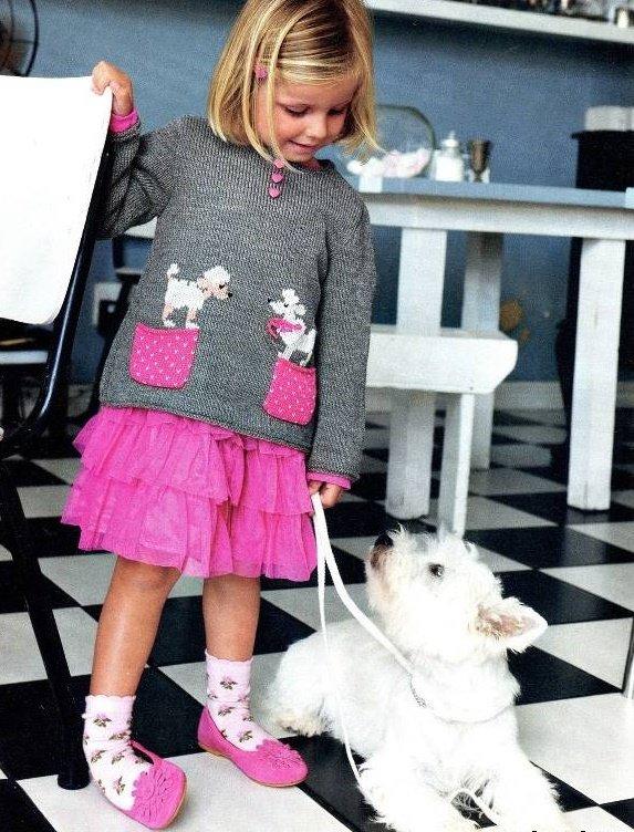 Свитер с собачками для девочки спицами
