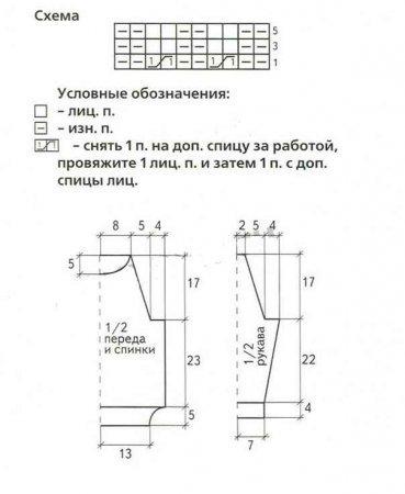 Выкройка и схема вязания