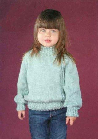 Классический свитер для девочки спицами