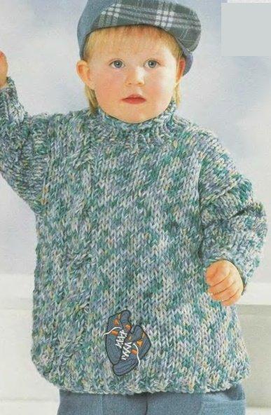 Меланжевый свитер для мальчика спицами