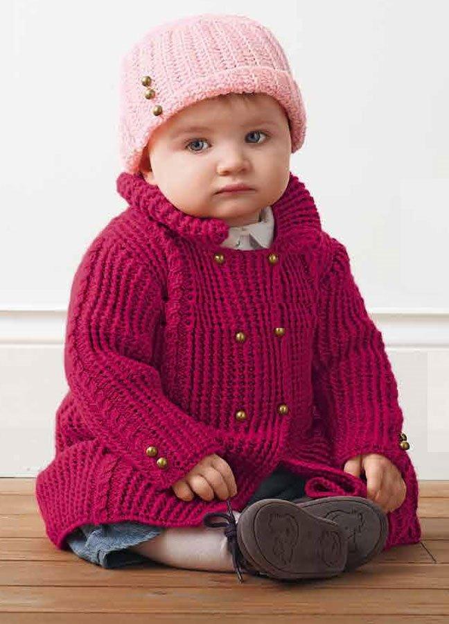 Двубортное пальто для девочки спицами