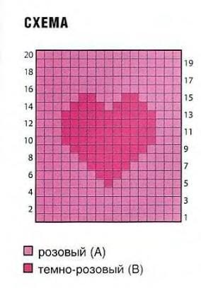 Схема вязания сердечка