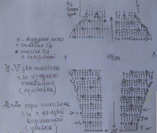 Схема вязания боковых деталей сумочки