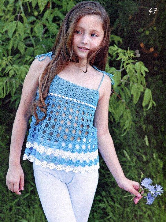 Голубой ажурный топ для девочки крючком