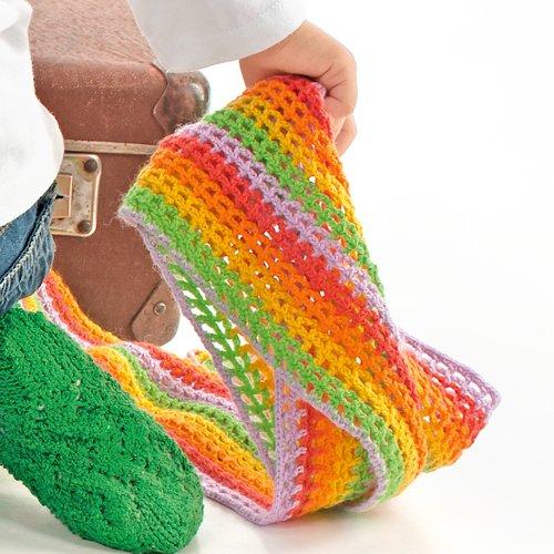 Разноцветный шарфик для девочки крючком