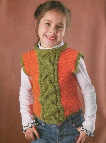 Вязание спицами безрукавок для девочки 213