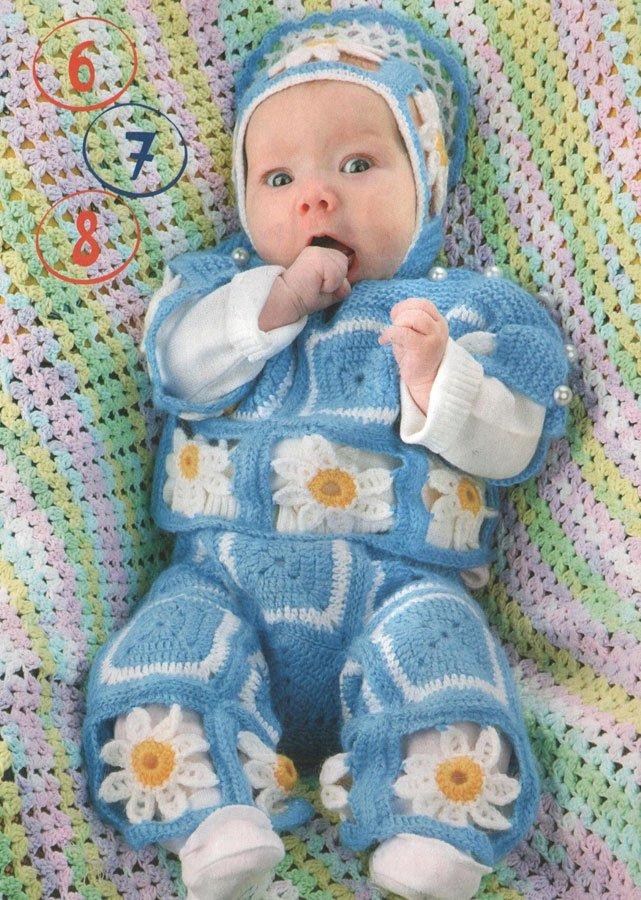 костюм для новорожденного мальчика крючком с ромашками