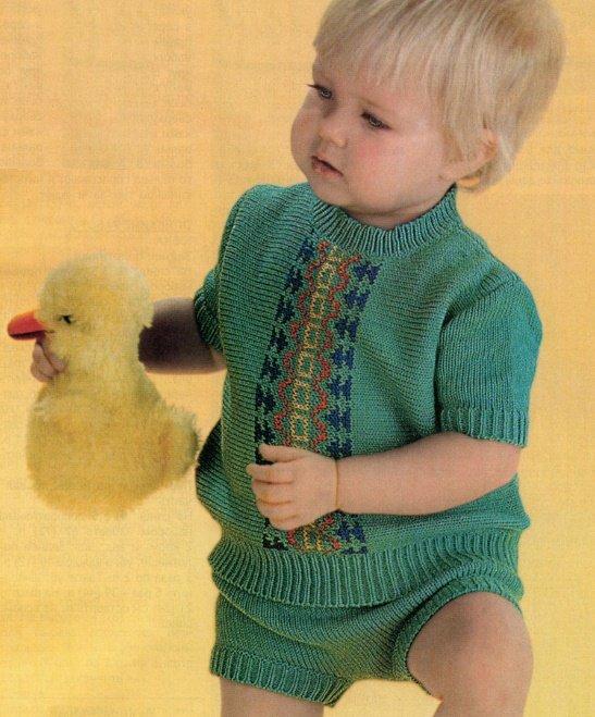 Летний костюм для мальчика 1 год спицами