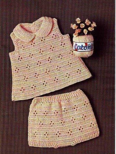 Летний костюм для новорожденной девочки крючком