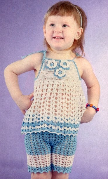 Летний костюм для девочки 4 года крючком