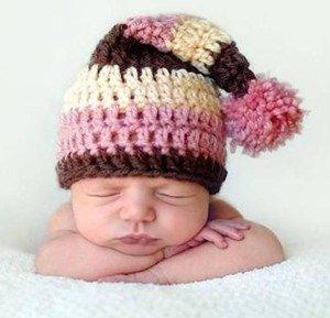 Шапочка-колпак для новорожденного малыша крючком