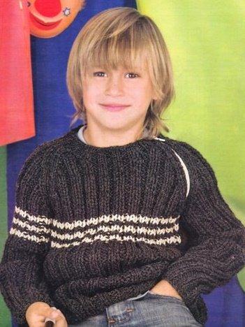 Джемпер для мальчика из толстой пряжи