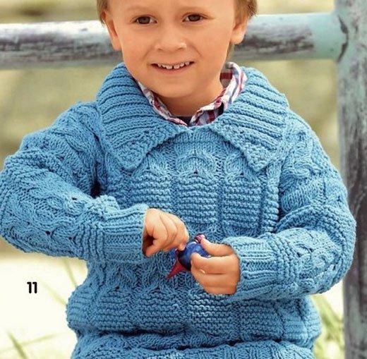Джемпер для мальчика с отложным воротничком спицами