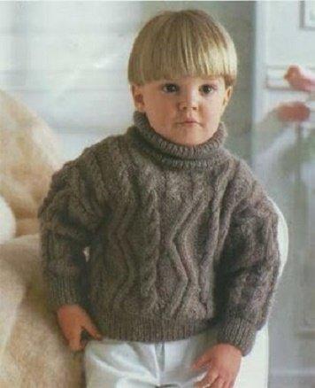 Коричневый джемпер для мальчика 3 года спицами