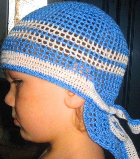 Голубая бандана для мальчика крючком