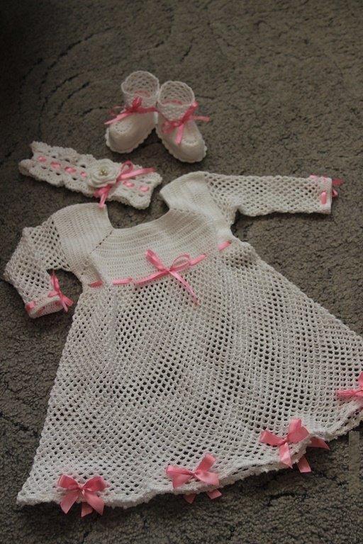 Платье, пинетки и повязка для крещения