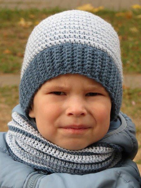 Зимний снуд для мальчика крючком